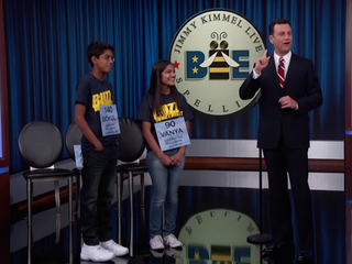 WATCH: Spelling Bee winners school Jimmy Kimmel