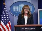 C.J. Cregg from 'West Wing' gives press briefing