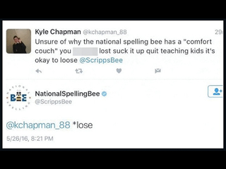 Spelling Bee tweets epic response to complaint