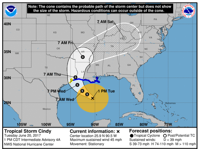 Tropical Storm Cindy threatens 17 million along Gulf Coast