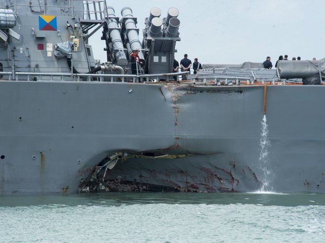 Sailors Missing After US Navy Destroyer Collides With Cargo Ship Off Singapore
