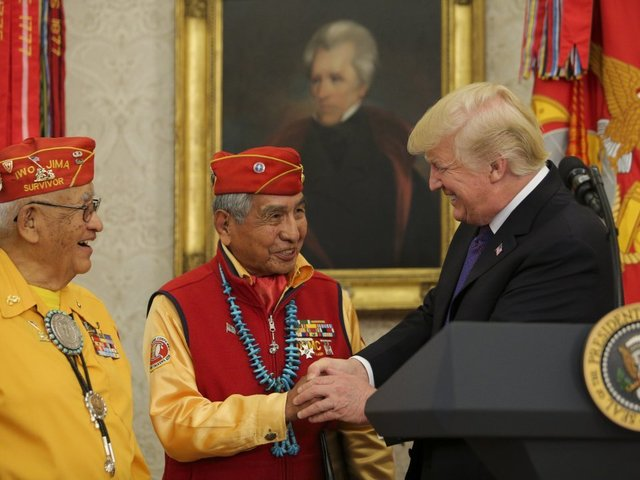 Trump makes 'Pocahontas' joke as ceremony honouring Native American veterans